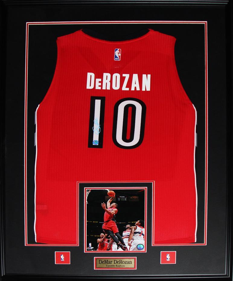 new product 8d562 1cf64 Details about DeMar DeRozan Toronto Raptors Signed jersey NBA Basketball  Collector Frame