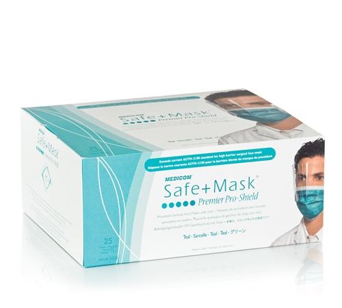 Proshield Elite About Face With Mask Safemask Permier Visor 25 bx Medicom Details 2025 Teal